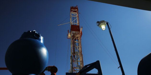MENTONE, TX - FEBRUARY 05: The Patterson 298 natural gas fueled drilling rig drills on land in the Permian...