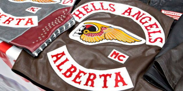 Hells Angelsvests, taken during a raid in Edmonton on Friday April 25, 2014. Six members of the Hells...