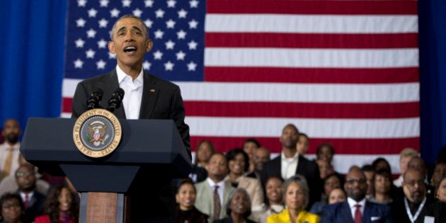President Barack Obama speaks during a town hall at McKinley Senior High School in Baton Rouge, La., Thursday, Jan. 14, 2016. After giving his State of the Union address, the president is traveling to tout progress and goals in his final year in office. (AP Photo/Carolyn Kaster)