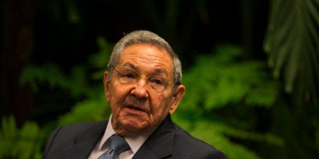Cuba's President Raul Castro, talks with Prime Minister Freundel Stuart, of Barbados, not seen, at Revolution...