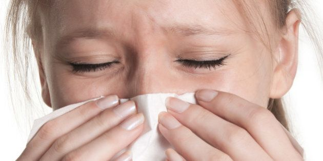 pale sick woman with a flu ...