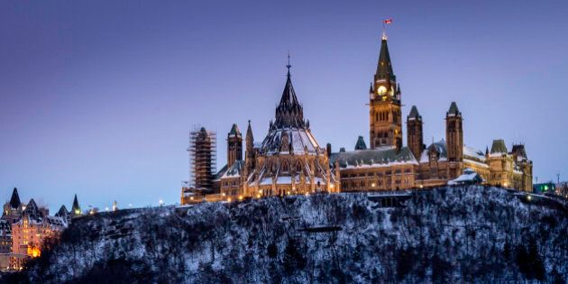 Parliament Hill in Ottawa, Canada. Seat of the Canadian Federal government.Taken from the Quebec side of the Ottawa River.