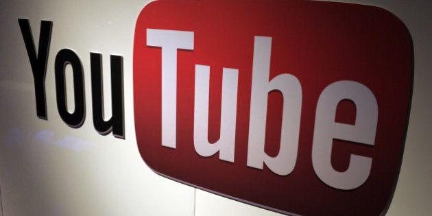 A picture shows a You Tube logo on December 4, 2012 during LeWeb Paris 2012 in Saint-Denis near Paris....