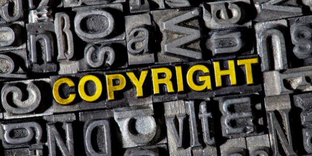 The word COPYRIGHT among the letterpress