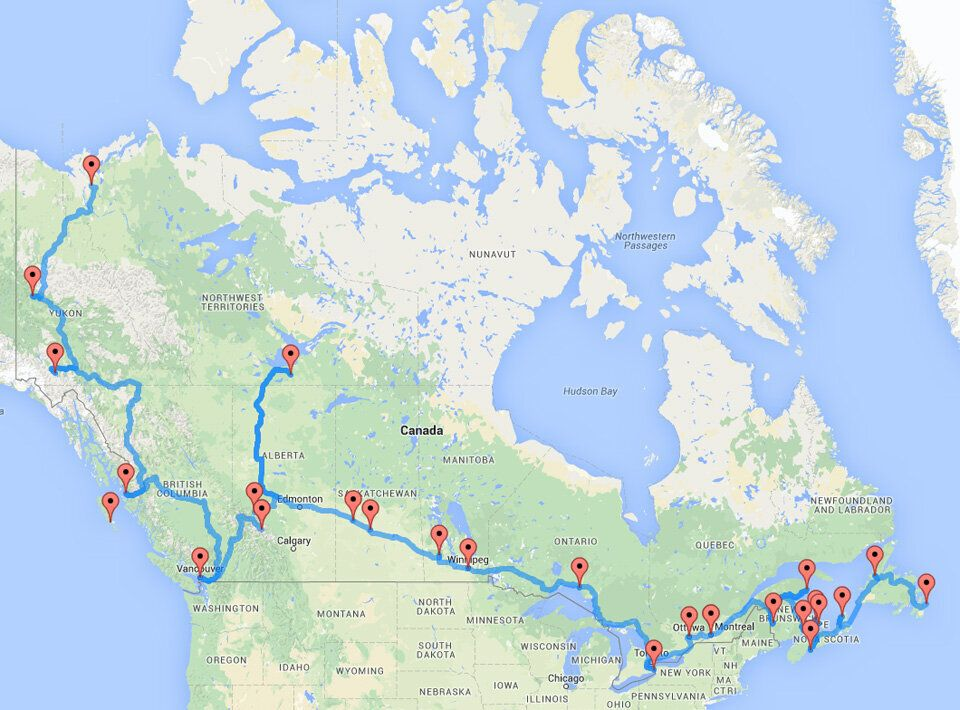 Map Road Canada The Ultimate Canadian Road Trip, As Determined By An Algorithm