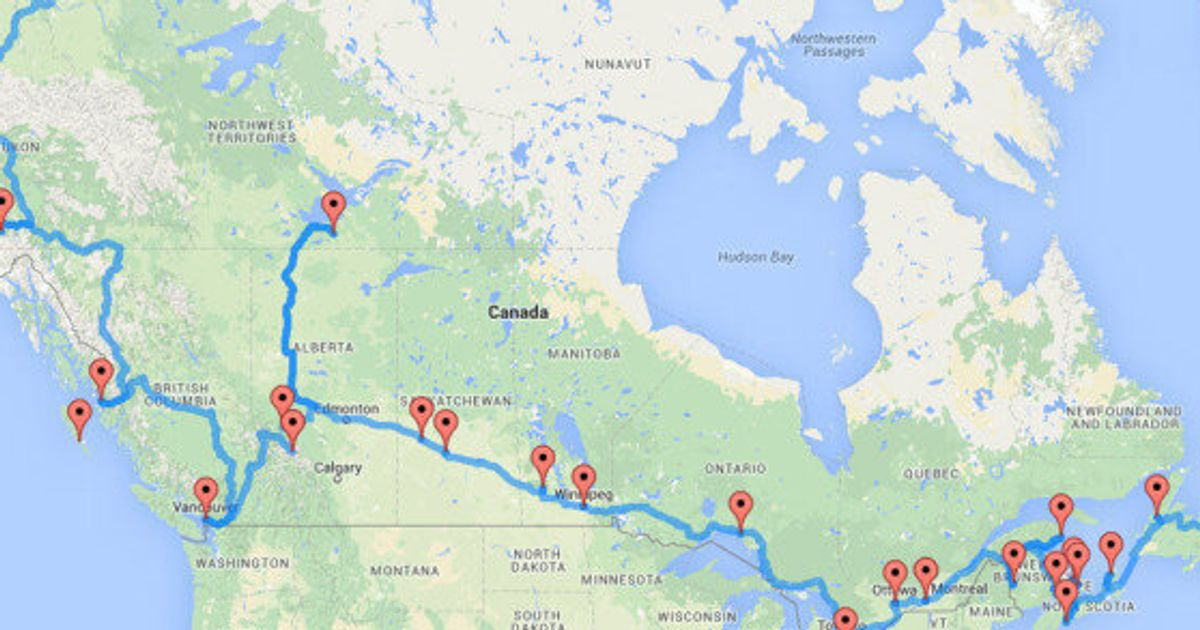 Canada Road Trip Map The Ultimate Canadian Road Trip, As Determined By An Algorithm