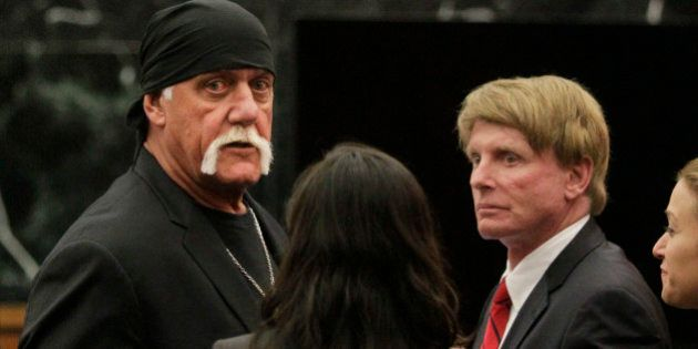 FILE - In this Monday, March 21, 2016, file photo, Hulk Hogan, whose given name is Terry Bollea, left, looks on in court moments after a jury returned its decision in St. Petersburg, Fla. Billionaire tech investor Peter Thiel has been secretly funding Hulk Hogan's lawsuit against Gawker Media for publishing a sex tape, according to reports in Forbes and The New York Times. (Dirk Shadd/The Tampa Bay Times via AP, Pool, File)