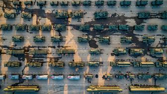 Russian military vehicles parked at a square for a rehearsal for the Victory Day military parade in Moscow, Russia, Monday, May 6, 2019. The parade will take place at Moscow's Red Square on May 9 to celebrate 74 years of the victory in WWII. (AP Photo/Dmitry Serebryakov)