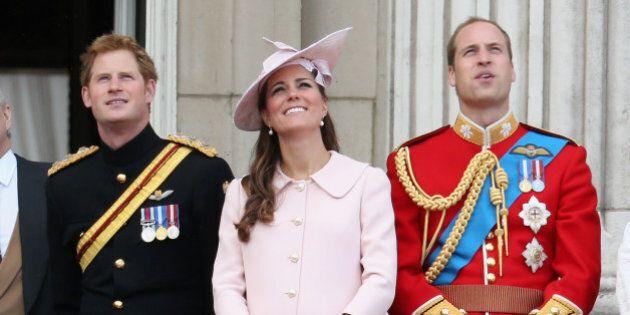 LONDON, ENGLAND - JUNE 15: Prince Harry, Catherine, Duchess of Cambridge and Prince William, Duke of...