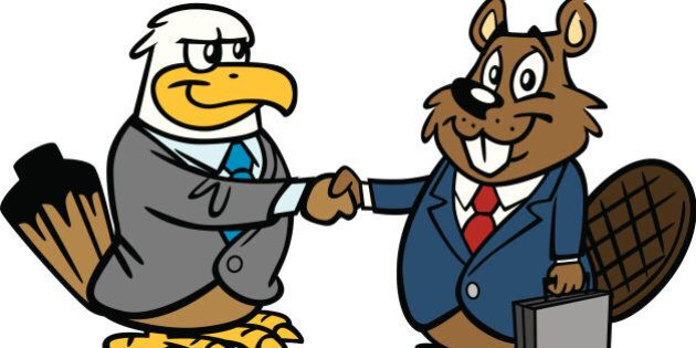 Great illustration of an American Eagle and a Canadian Beaver. Perfect for a free trade illustration....