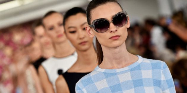 NEW YORK, NY - SEPTEMBER 09: Models walk the runway at the Oscar De La Renta fashion show during Mercedes-Benz...