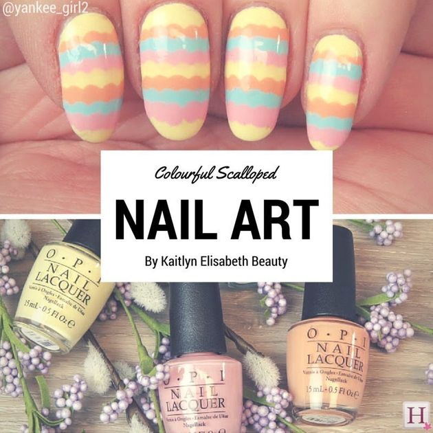 Nail Art: A Colourful Scalloped Design For