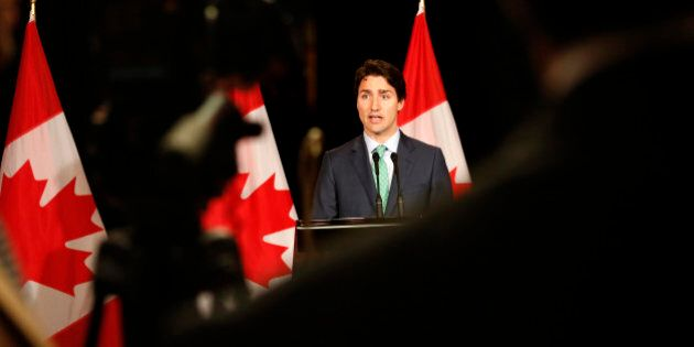 Canadian Prime Minister Justin Trudeau speaks during a press conference after the summit of the leaders...