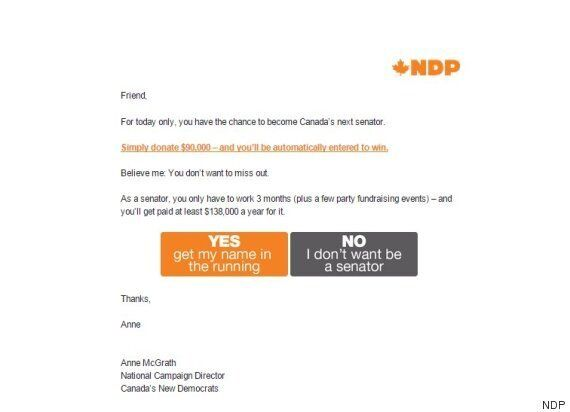 NDP Nails April Fool's Day With Dig At Senate Expenses