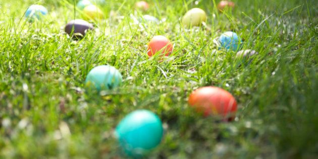 Easter eggs on lawn,