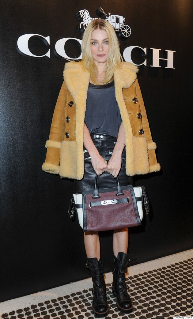 Jessica Stam Dons Luxurious Shearling Coat At Coach Modern Luxury Concept Store Launch In