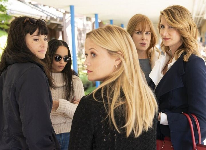 "Shailene Woodley, Zoe Kravitz, Reese Witherspoon, Nicole Kidman and Laura Dern in ""Big Little Lies."""