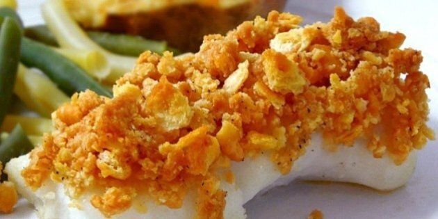 Baked cod recipe with Ritz crackers on top.
