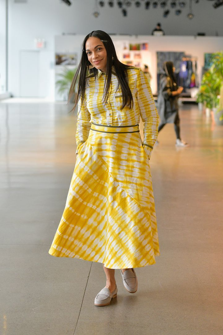 Rosario Dawson at New York Fashion Week in February 2019.