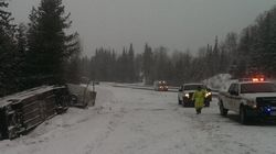 Greyhound Bus Flips On Icy B.C.