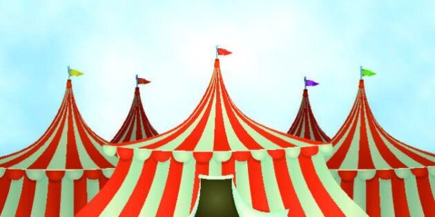 Vector illustration of cartoon circus tents on a blue sky background. Vector eps and high resolution...