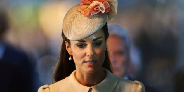 Kate, Duchess of Cambridge attends a ceremony at St. Symphorien Military Cemetery in Mons, Belgium, Monday,...