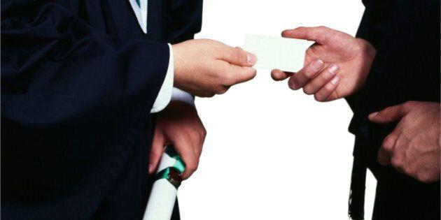 Graduates exchanging business