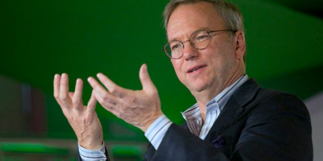 Eric Schmidt, chairman of Google Inc., speaks during a Google Big Tent event in Washington, D.C., U.S.,...