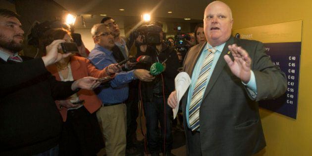 TORONTO - FEBRUARY 11 - Toronto Councillor Rob Ford on February 11, 2015. Ford was tossed out of council...