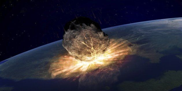 Artwork of an asteroid hitting