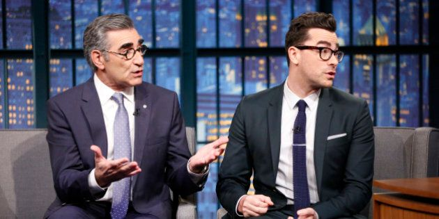 LATE NIGHT WITH SETH MEYERS -- Episode 160 -- Pictured: (l-r) Actors Eugene Levy & Daniel Levy during an interview on January 9, 2015 -- (Photo by: Lloyd Bishop/NBC/NBCU Photo Bank via Getty Images)