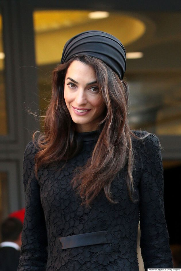 Amal Clooney Sports Atelier Versace And Headpiece In Vatican City To Meet Pope