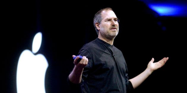 FILE: Steve Jobs, chief executive officer and co-founder of Apple Inc., delivers a keynote address at...