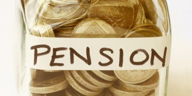 Jam jar filled with one pound and labelled 'Pension'.