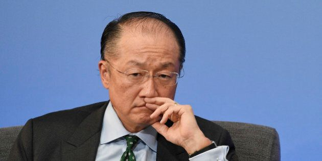 President of the World Bank Jim Yong Kim attends the during the Anti-Corruption Summit in Lancaster House...