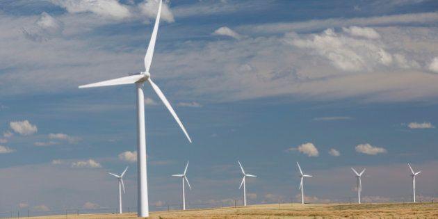 Wind turbines in sunny rural