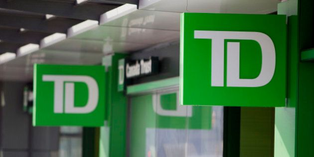 The logo of Toronto-Dominion Bank (TD) is displayed outside a Canada Trust branch in Vancouver, British...