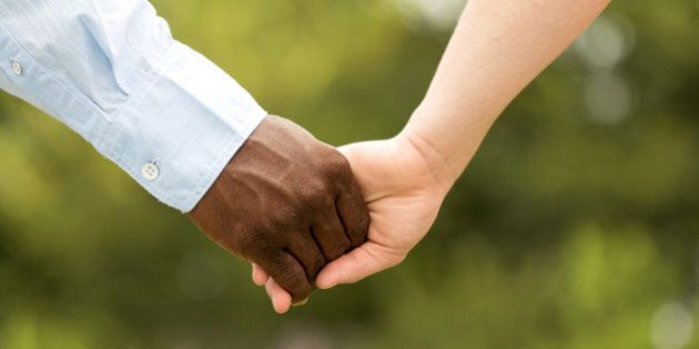 Happy Interracial Couple. African American man and a Caucasian