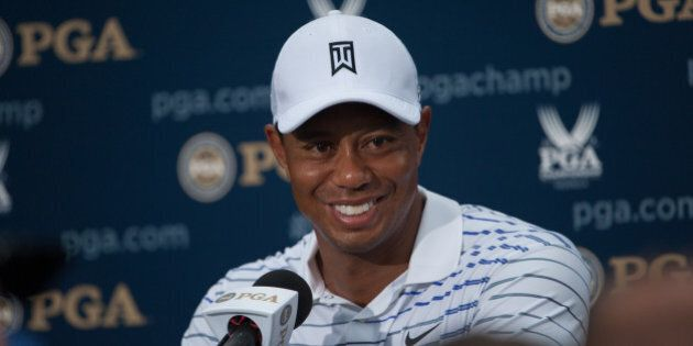 LOUISVILLE, KY - AUGUST 8: Tiger Woods of the United States gives an interview after his round during the Second Round of the 96th PGA Championship, at Valhalla Golf Club, on August 8, 2014 in Louisville, Kentucky. (Photo by Montana Pritchard/The PGA of America via Getty Images)
