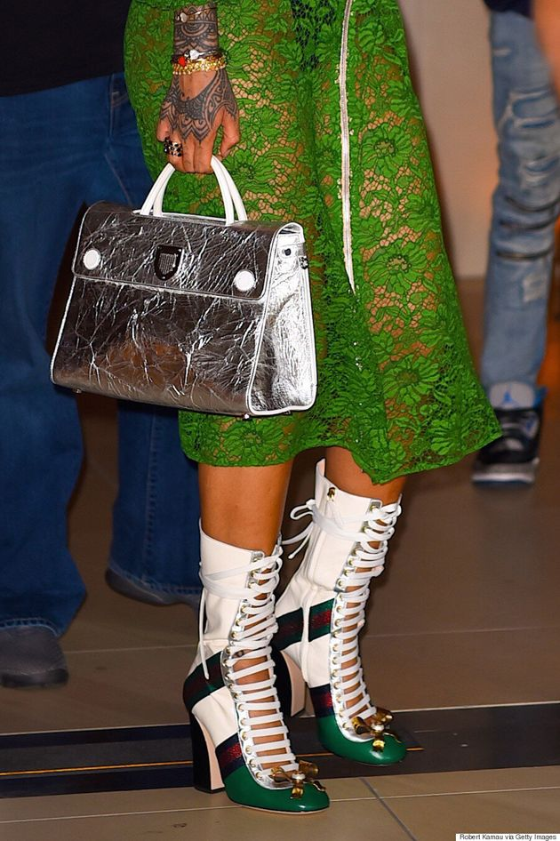 Rihanna Sports 2 Green Dresses In 1 Day In New York