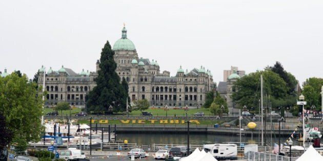 VICTORIA, BC - AUGUST 29: Inner Harbour with the Parliament building on August 29, 2014 in Victoria,...