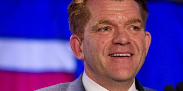 Wildrose party leader Brian Jean speaks to supporters after being declared leader of the opposition in...
