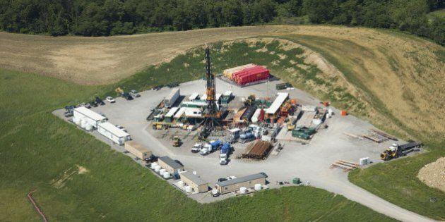 Fracking rigs like this one in Butler County, Penn., dot the landscape across western Pennsylvania, June...