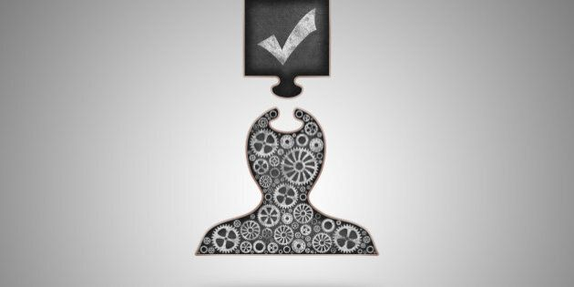 This is a concept image for done work. Digital created shape of a person with a realistic blackboard texture and beautiful chalk drawn gears, getting an information input by a jigsaw shape also with a digital blackboard texture. Soft shadows, gradient background. Very unique professional digitally created image.