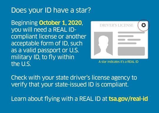 Beginning Oct. 1, 2020, all U.S. travelers will need a Real ID-compliant license or other approved form of identification to fly.