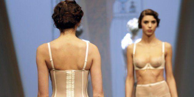 A model presents underwear creations during a show at the International Lingerie Fair (Salon de la lingerie)...
