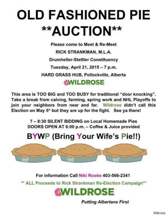 Wildrose Candidate's 'Bring Your Wife's Pie' Poster Prompts Apology, Twitter