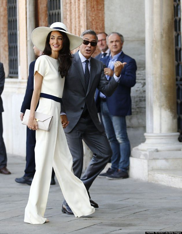 Amal Alamuddin Wears Chic Pantsuit For Civil Ceremony With George