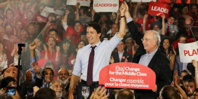 BRAMPTON, ON- AUGUST 25 - Federal Liberal Leader Justin Trudeau campaigns with former Prime Minister...