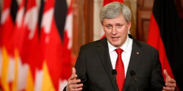 OTTAWA, CANADA -FEBRUARY 09: Canada's Prime Minister Stephen Harper addresses media alongside German...